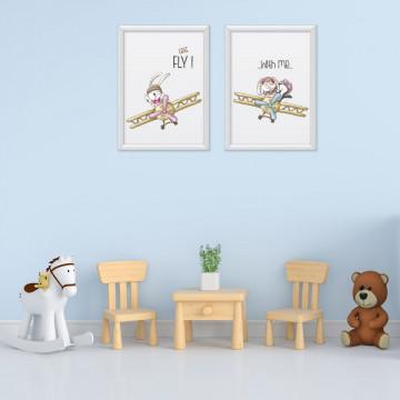 Set 2 tablouri - Iepurasii cu avion
