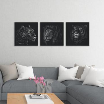 Set 3 Tablouri Canvas, Feline