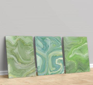 Set 3 Tablouri Canvas, Greens