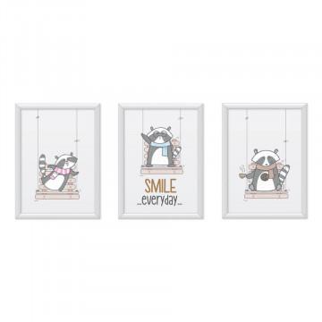 Set 3 tablouri - Ratonii veseli