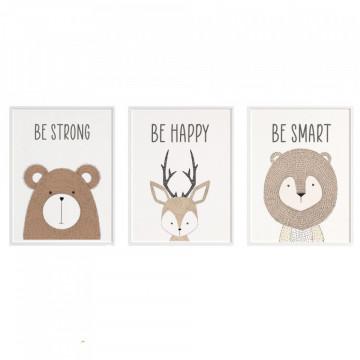 Set 3 tablouri - Ursul, Caprioara, Leul