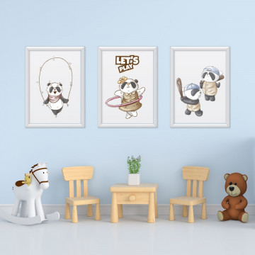 Set 3 tablouri - Ursuletii Panda
