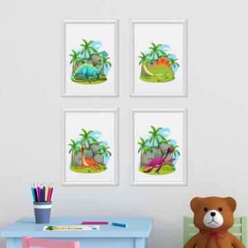 Set 4 tablouri - Dinozauri