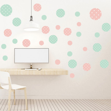 Set stickere decorative perete - Cercuri1, 60x60cm