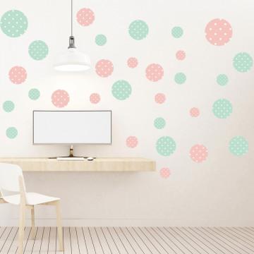 Set stickere decorative perete - Cercuri1, 60x60cm