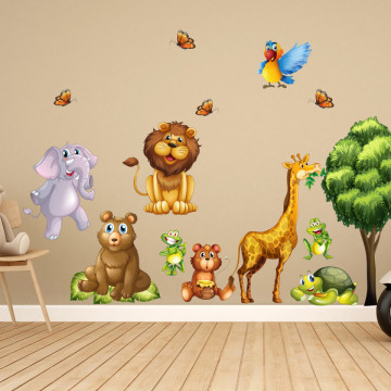 Set stickere decorative perete copii - Animalele Junglei, 60x90cm
