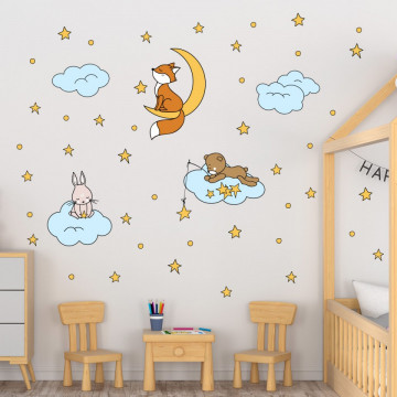 Set stickere decorative perete copii - Animalute pe norisori 60x90
