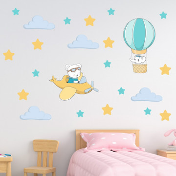 Set stickere decorative perete copii - Avionul & Balonul 60x90cm