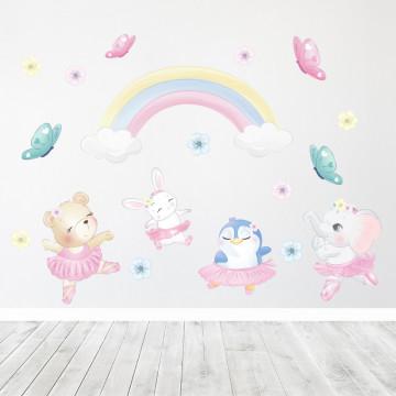 Set stickere decorative perete copii - Balerinele, 60x90 cm