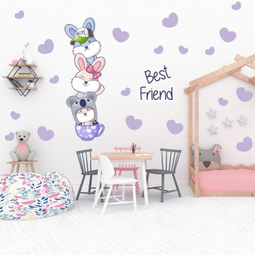 Set stickere decorative perete copii - Best friends iepurasii