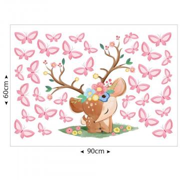 Set stickere decorative perete copii - Caprioara cu fluturasi 60x90