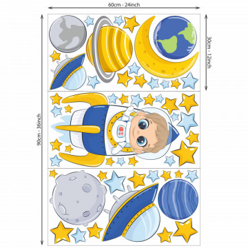 Set stickere decorative perete copii - Cosmonautul, 60x90cm