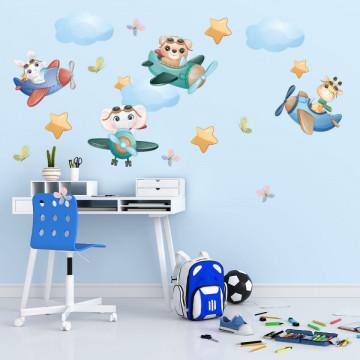 Set stickere decorative perete copii - Elefantul Zburator, 60x90cm
