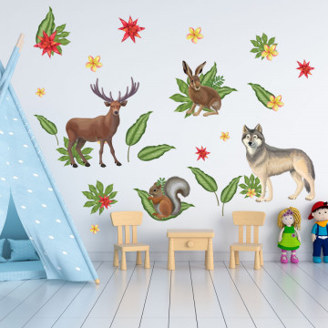 Set stickere decorative perete copii - Forest Animals1 , 60x90cm