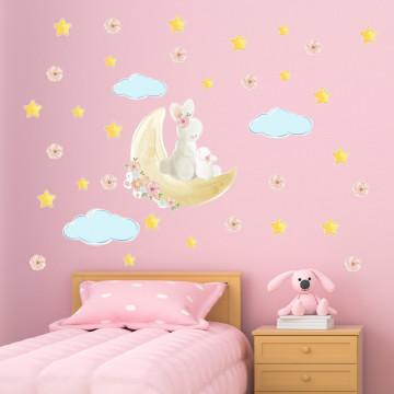 Set stickere decorative perete copii - Iepurasul cu puiul pe luna 60x90