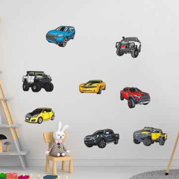 Set stickere decorative perete copii - Masinutele 60x90