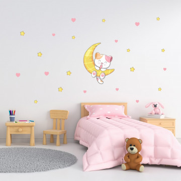 Set stickere decorative perete copii - Pisicuta pe luna 40x60