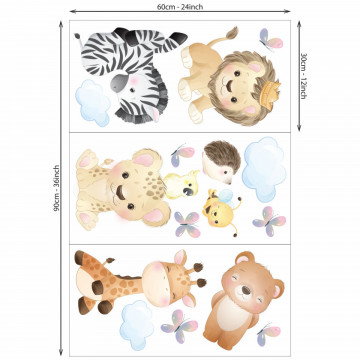 Set stickere decorative perete copii - Puii de animale , 60x90cm