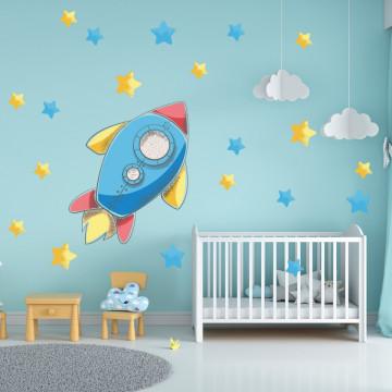 Set stickere decorative perete copii - Racheta