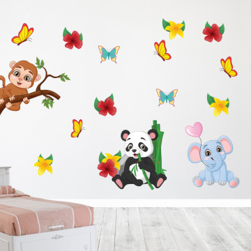 Set stickere decorative perete copii - Safary animals , 60x90 cm