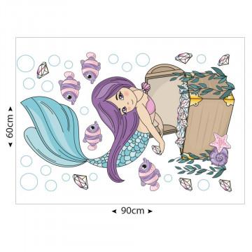 Set stickere decorative perete copii - Sirena 60x90cm