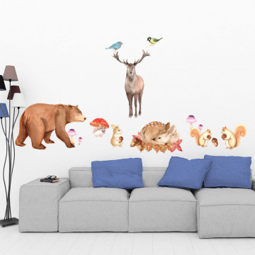 Set stickere decorative perete copii - Toamna Animalelor, 60x90cm