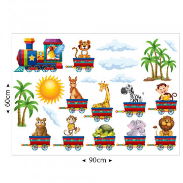 Set stickere decorative perete copii - Trenuletul cu animale 60x90