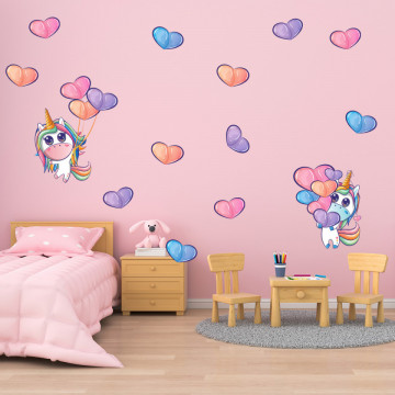 Set stickere decorative perete copii - Unicornul 2, 60x60cm