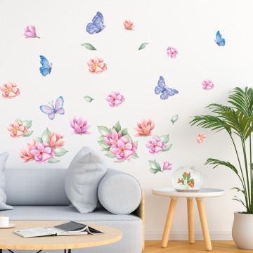 Set stickere decorative perete - Flori & Fluturasi , 60x90cm
