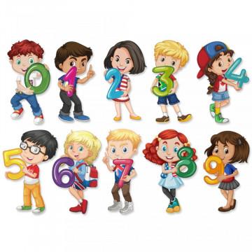 Stickere Educationale copii - Numerele cu copii, set 30x40cm