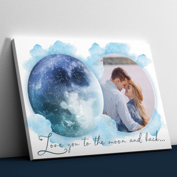 """Tablou Canvas personalizat """"Harta Stelelor"""" - Love you to the moon and back..."""