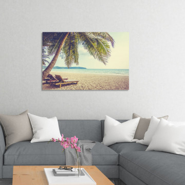 Tablou Canvas, Plaja cu Palmieri