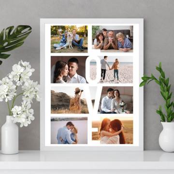 Tablou personalizat cu opt poze, LOVE