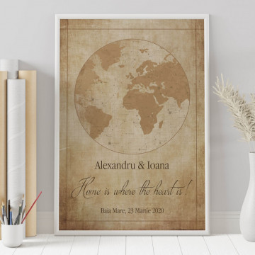 Tablou personalizat Harta Stelelor - Home is where the heart is