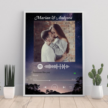"""Tablou personalizat """"Melodia noastra"""", cod Spotify si nume, Cerul instelat"""