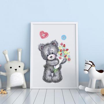 Tablou - Ursuletul cu buchet de flori