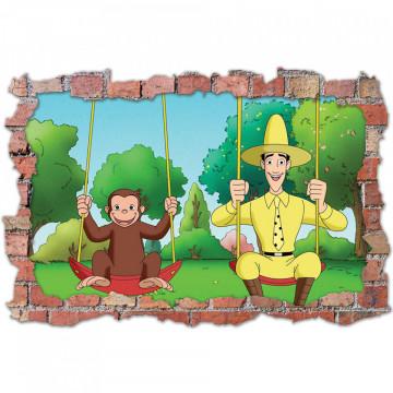 3D Sticker perete 60x90cm - Curiosul George