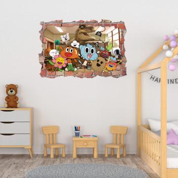 3D Sticker perete 60x90cm - Lumea lui Gumball