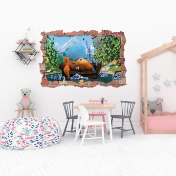 3D Sticker perete 60x90cm - Ursul si lemingii