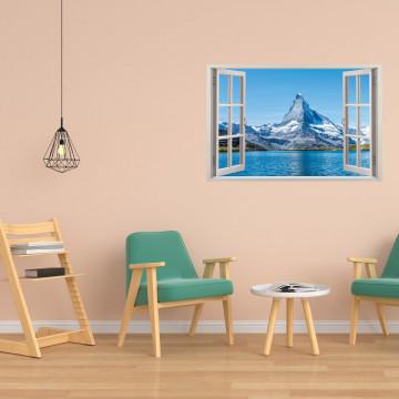 Fereastra 3D, Sticker perete - Peisaj cu lac si munte