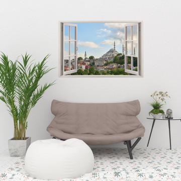 Fereastra 3D, Sticker perete - Peisaj cu moschee