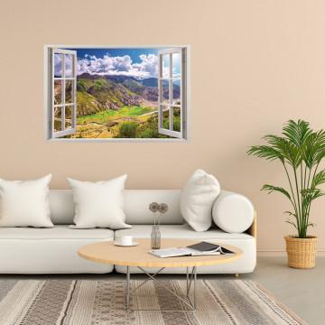 Fereastra 3D, Sticker perete - Peisaj cu munte