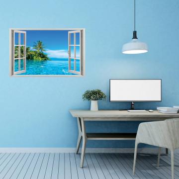 Fereastra 3D, Sticker perete - Peisaj cu ocean si palmieri