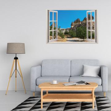 Fereastra 3D, Sticker perete - Peisaj cu stanci din desert