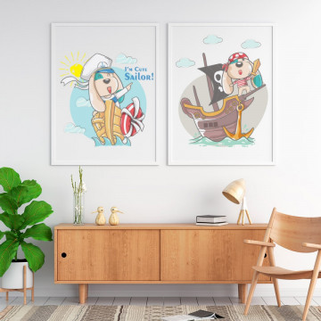 Set 2 tablouri - Animalutele cu vaporasul