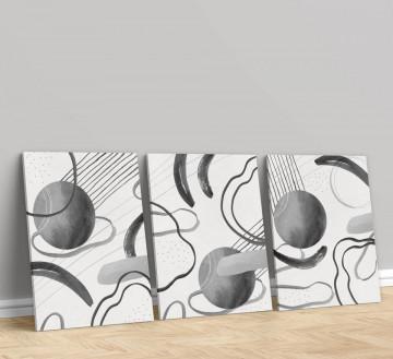 Set 3 Tablouri Canvas, Black and white