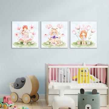 Set 3 Tablouri Canvas, Fetitele cu animale