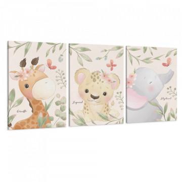 Set 3 Tablouri Canvas, Girafa & Leopard & Elefant