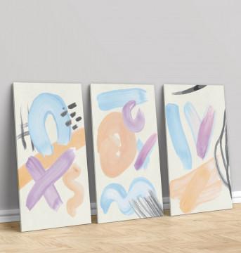 Set 3 Tablouri Canvas, Pete de culoare