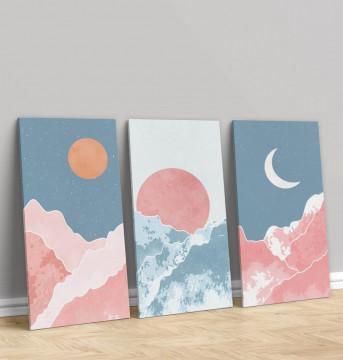 Set 3 Tablouri Canvas, The moon and sun